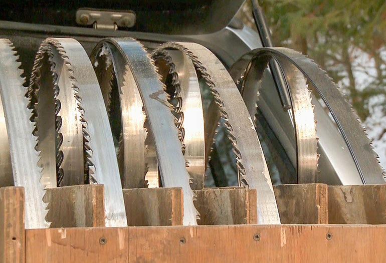 Sawmillers keep a stock of blades for different types of wood