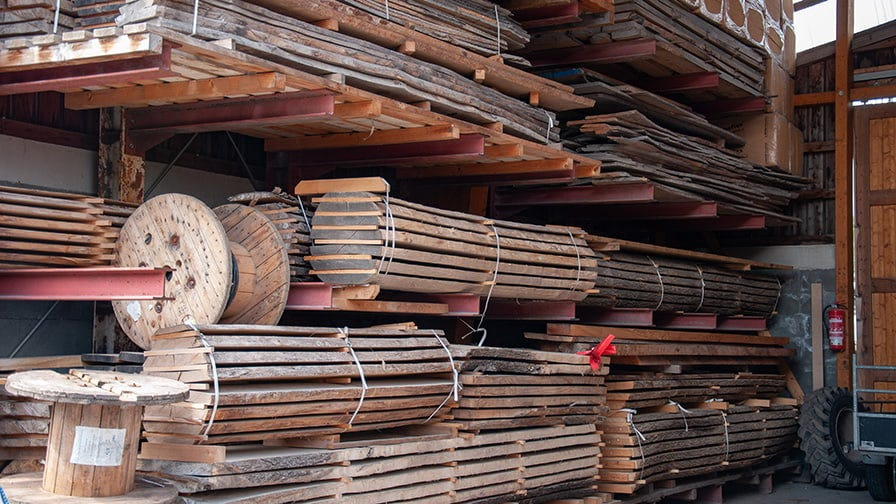 The timber is stored to dry naturally